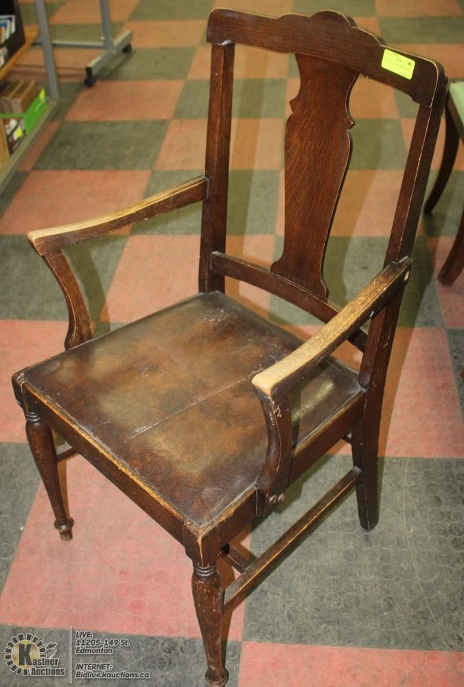 Image 1 : ANTIQUE OAK CAPTAINS CHAIR ...