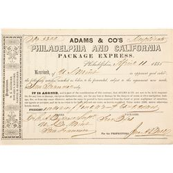 Adams & Co. Receipt for Two Boxes from Philadelphia Mint to SF Mint