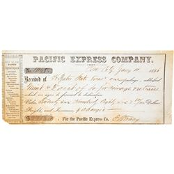Pacific Express Company Receipt to the San Francisco Mint