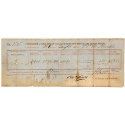 San Francisco Mint Gold Rush Bullion Memorandum, 1855