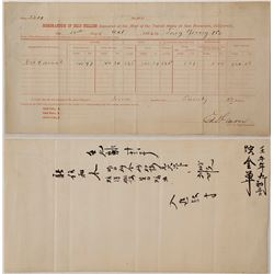 San Francisco Mint Assays for Chinese Tong Young & Company