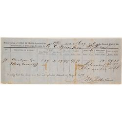 Dahlonega Mint Assay Memorandum, 1856