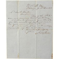 Letter from the Dahlonega Mint signed by Superintendent J. M. Patton