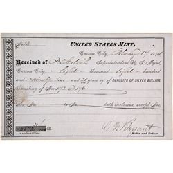 Carson City Mint Receipt for 8,800 Ounce Silver Deposit, 1874