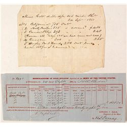 1851 Memorandum of Bullion deposited by the Mint of the United States
