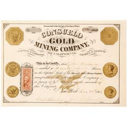 Consuelo Gold Mining Company of California Stock Certificate, 1865