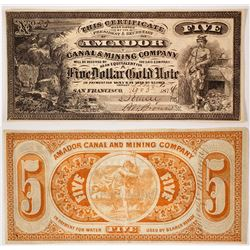 Amador Canal & Mining Company $5 Gold Note