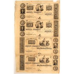Finest Known $50-100 Uncut Sheet of Belfast Mining Company Notes