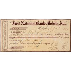 United States Official Deposit for Land Patent, First National Bank, Mobile, Alabama