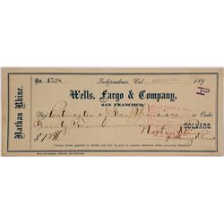 Independence, California Wells Fargo Imprinted Check