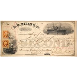 D.O. Mills & Co. Second of Exchange, 1865, $5,000 in Gold Coin