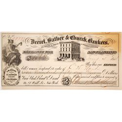 Drexel, Sather, & Church First of Exchange, San Francisco, 1856, Gold Rush