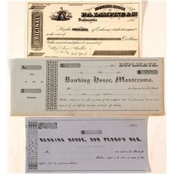 Unused Gold Rush Banking Documents including the very rare town of Don Pedro's Bar