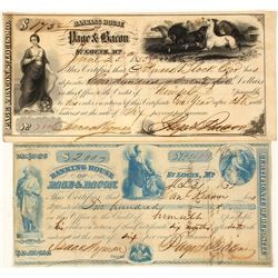 Two Page & Bacon Certificates of Deposit, St. Louis, 1850s