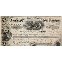 Adams & Co. Express 2nd of Exchange, Placerville, 1854, California Gold Rush