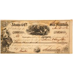 Adams & Co. Express 2nd of Exchange, Sacramento, 1852, Gold Rush