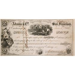 Adams & Co. Express Second of Exchange, Weaverville, 1853, Gold Rush