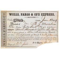 Printed Columbia Wells Fargo Receipt for Gold Dust, 1859