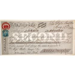 Wells Fargo Second of Exchange, La Porte, CA 1864, Payable in Gold Coin