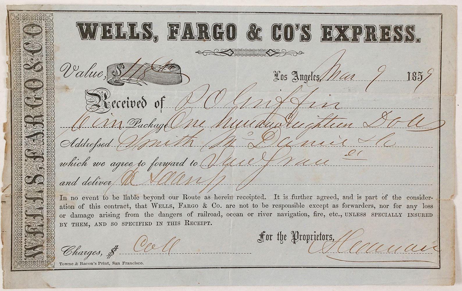 Image 1 Ultra Rare Los Angeles Gold Rush Paper For Wells Fargo Co S