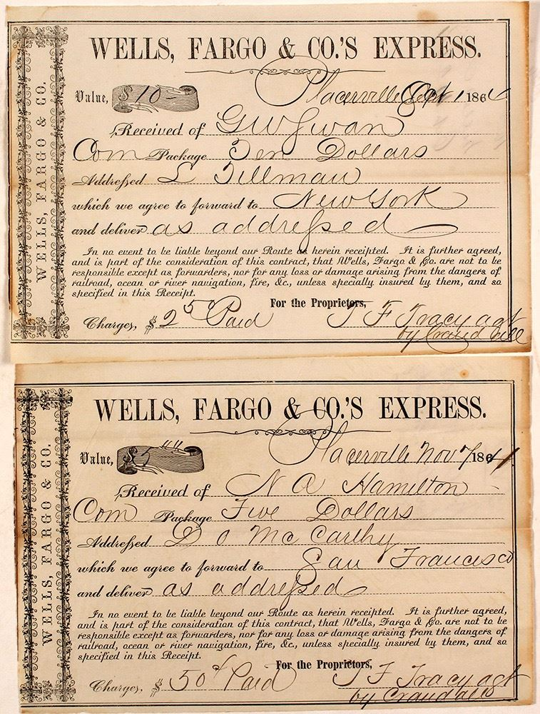 Image 1 Two Placerville Wells Fargo 1860 S Receipts