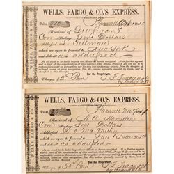 Two Placerville Wells Fargo 1860's Receipts