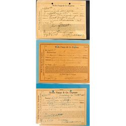 Three Wells Fargo Receipts for Bars from the Yellow Aster Mine