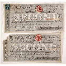 Two Consecutive 1864 Wells Fargo Second of Exchanges with Different California Revenue Stamps