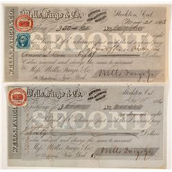 Two Wells Fargo Second of Exchanges, Stockton, 1860s, w/ California Revenue Stamps