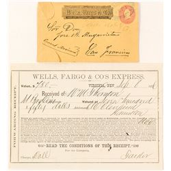 Virginia City NT Wells, Fargo Cover and Receipt