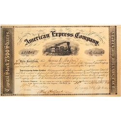 American Express Company Stock Certificate Signed by Wells & Fargo, 1854