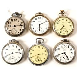 2 Elgin and 4 Waltham Men's Pocket Watches