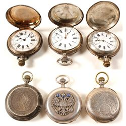 Vintage Silver Men's Cased Pocket Watches