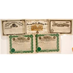 Boulder, CO Mining Stock Certificates (5)