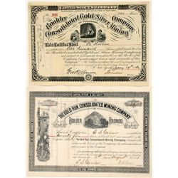 Two Boulder, Colorado Mining Stock Certificates
