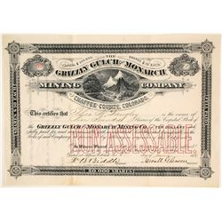 Grizzly Gulch & Monarch Mining Co. Stock Certificate, Chaffee County, CO, 1881