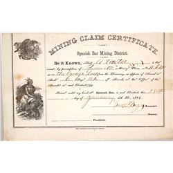 1861 Mining Claim Certificate, Spanish Bar Mining District, Colorado w/ Possible Montana Connection