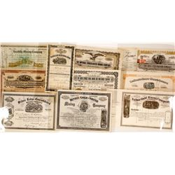 Ten Clear Creek County, CO Mining Stock Certificates