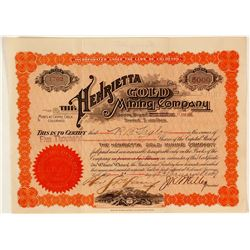 Henrietta Gold Mining Co. Stock Certificate, Cripple Creek, CO 1899