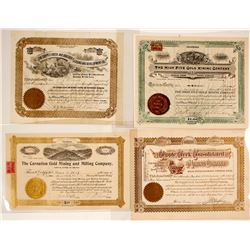 Four Different Cripple Creek Mining Stock Certificates