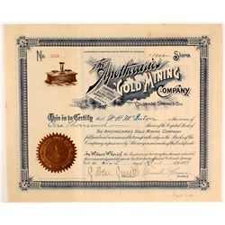 The Apothecaries Gold Mining Co. Stock Certificate, Cripple Creek, CO 1898