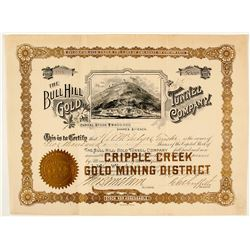 The Bull Hill Gold Tunnel Co. Stock Certificate, Cripple Creek, CO 1896