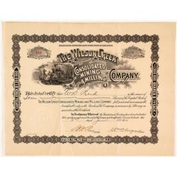 The Wilson Creek Consolidated Mining & Milling Co. Stock Certificate, Cripple Creek, 1900