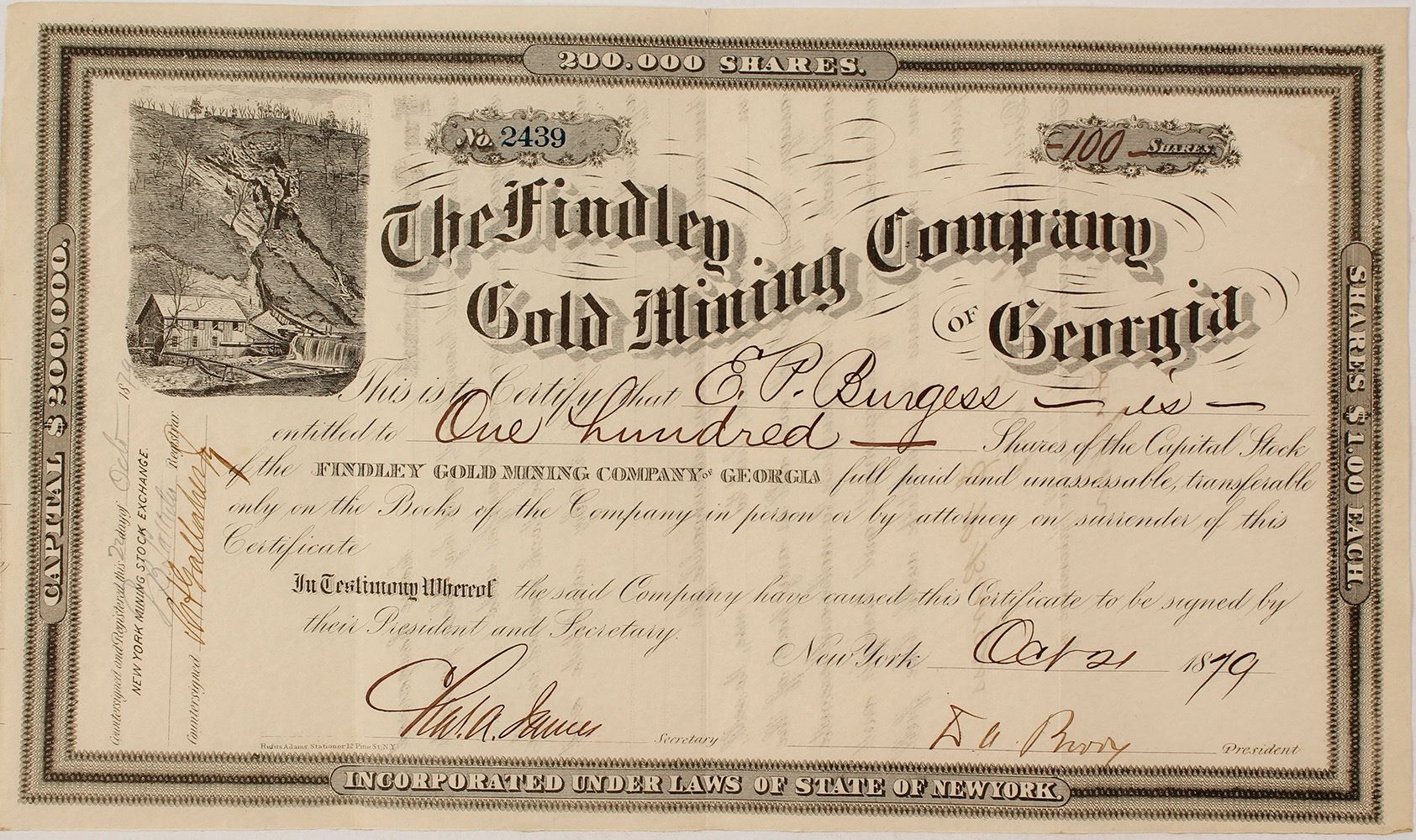 Findley Gold Mining Company Of Georgia Stock Certificate