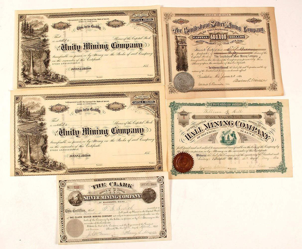 Maine Silver Rush Stock Certificate Collection