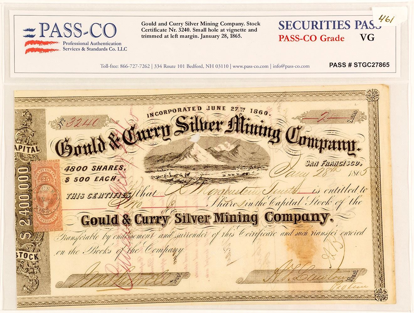 Gould Curry Silver Mining Company Stock Certificate 1865