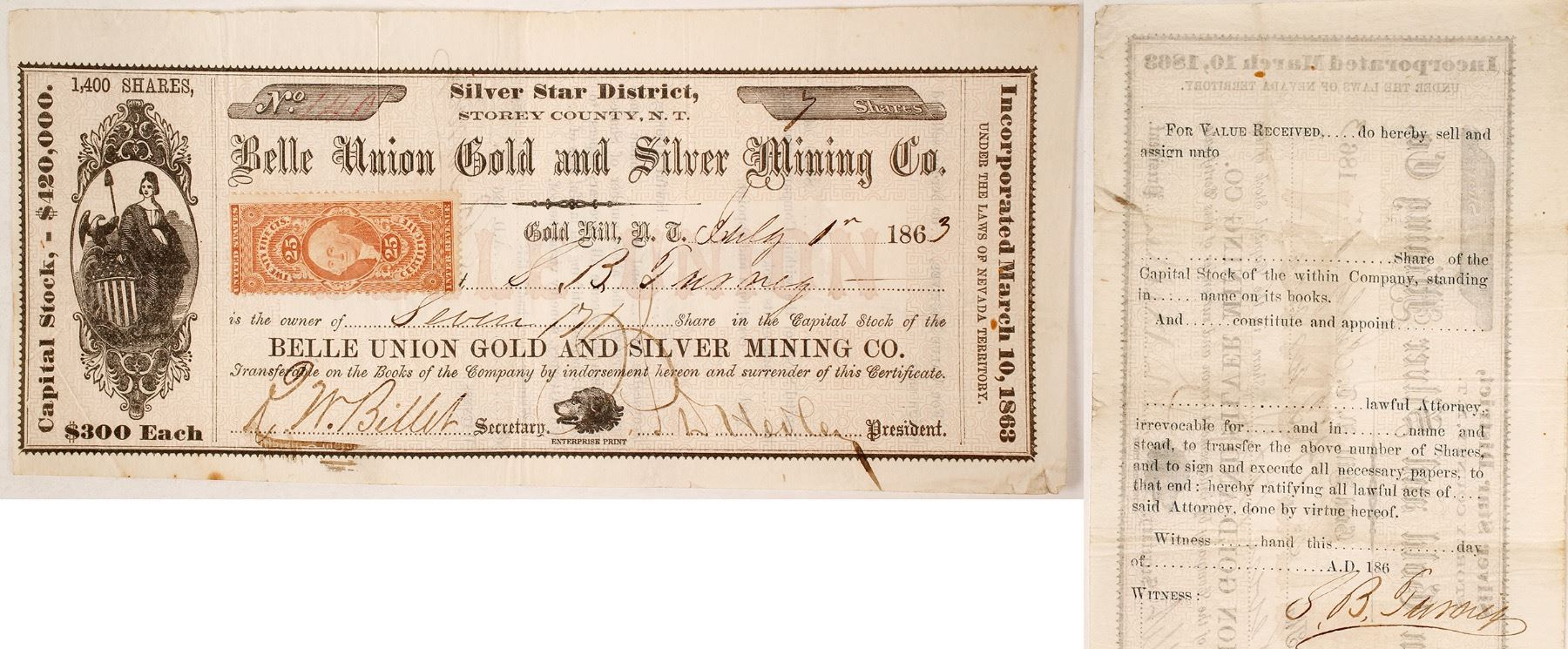 Belle Union Gold Silver Mining Co Stock Certificate Silver Star