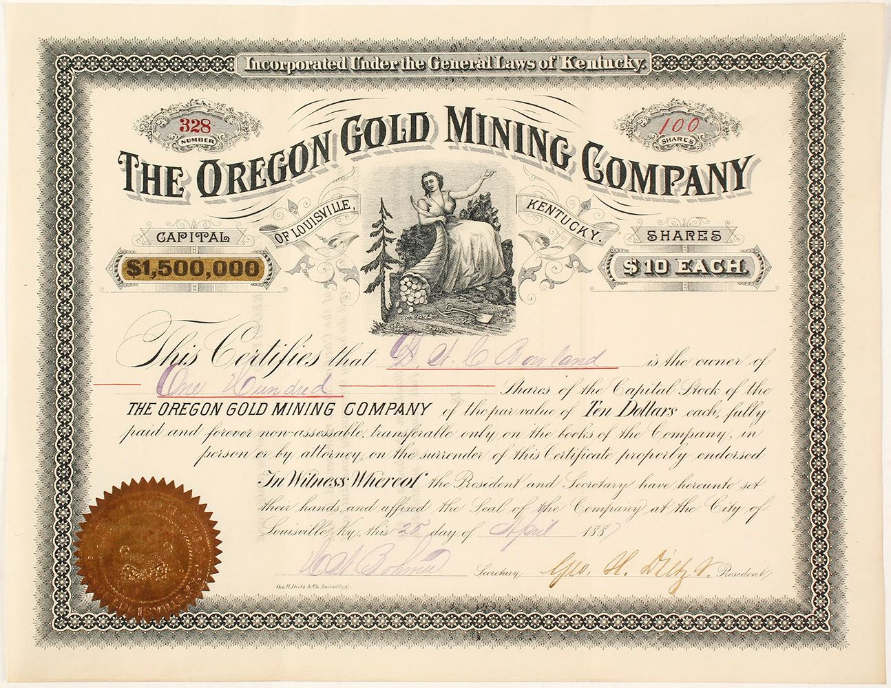 The Oregon Gold Mining Co Of Louisville Ky Stock Certificate 1887