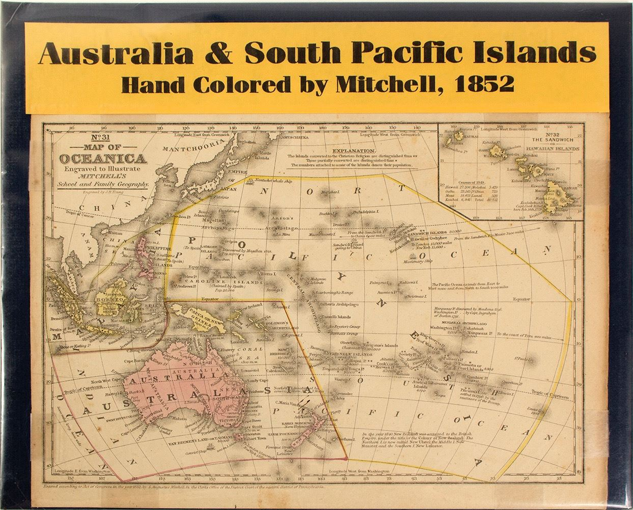 Map of Australia & South Pacific Islands
