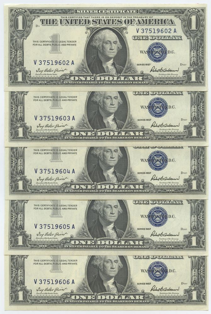 Lot Of 5 1957 1 One Dollar Us Silver Certificates With